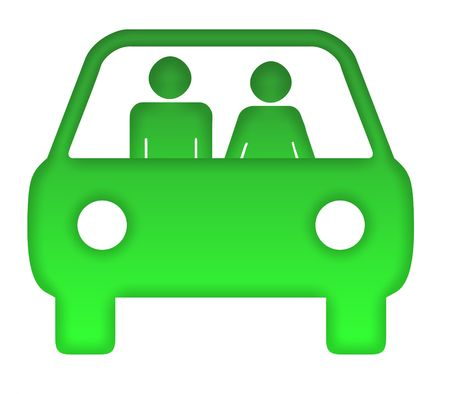 Couple in green eco motor car silhouette, isolated on white background.