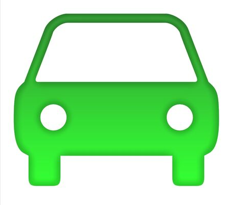 Green eco motor car silhouette, isolated on white background.