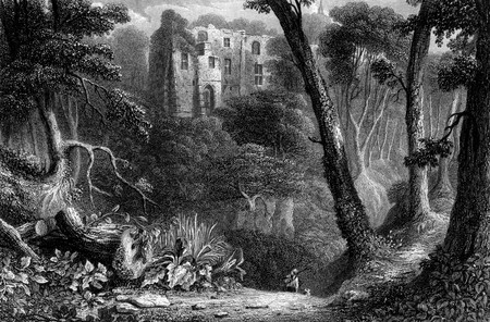 Engraving of Dunfermline Palace viewed through forest of Lyme Burn, Fife Scotland. Engraved by William Miller in 1830.