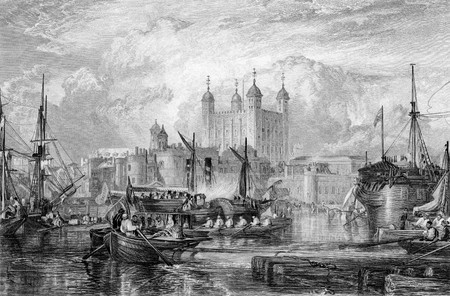 Tower of London with ships in port on River Thames, England, Engraved by William Miller in 1832. Public domain image by virtue of age.