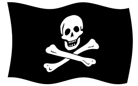 Illustration of jolly roger or skull and cross bones pirate flag.