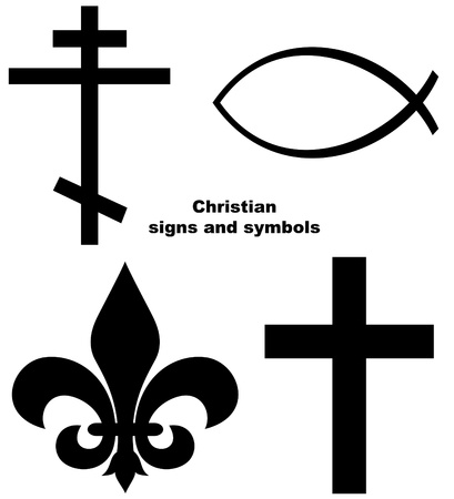 Set of Christian signs or symbols isolated on a white background.