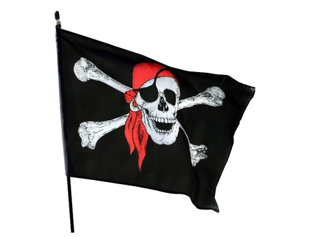 Skull and cross bones pirate flag isolated on white background