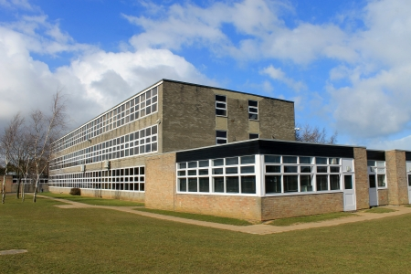 Exterior of English secondary school building, Scarborough.