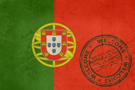 Welcome to Portugal flag with passport stamp