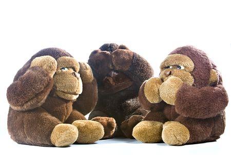 Three plush gorillas represnting the proverb of the wise monkeys