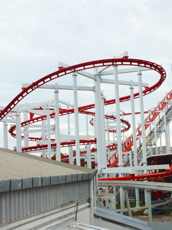 red rail way in the amusement park