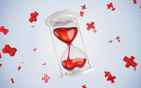 Hourglass in the form of hearts. 3d render. concept