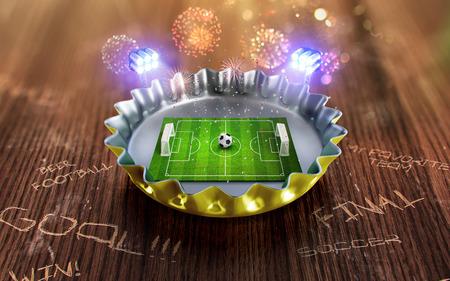 Foto de Football championship in the yellow Beer cap. 3d render - Imagen libre de derechos