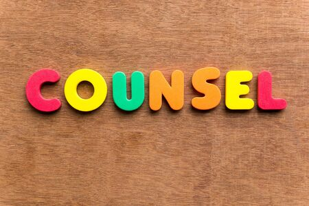 counsel colorful word on the wooden background