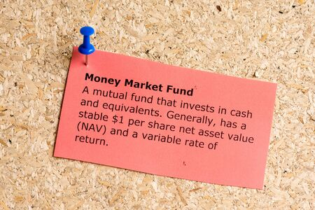 money market fund word typed on a paper and pinned to a cork notice board