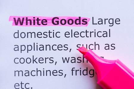 white goods  word highlighted on the white background