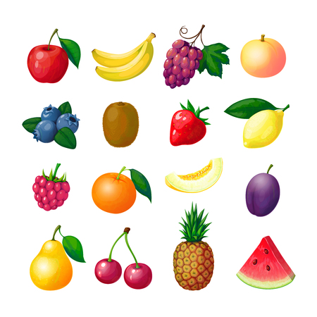 Illustration pour Cartoon fruits and berries. Apple banana grape peach blueberry kiwi lemon strawberry raspberry melon plum pear pineapple vector set - image libre de droit