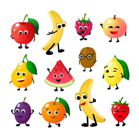 Illustration pour Cartoon funny fruits. Happy apple banana raspberry peach pear watermelon lemon strawberry faces. Summer fruit berry vector characters - image libre de droit
