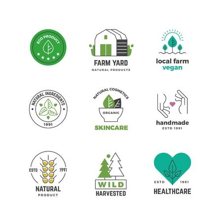 Illustration for Line organic icon. Green vegan shop label, nature plants vegetarian stamp, restaurant menu sticker design. Vector eco badges set - Royalty Free Image