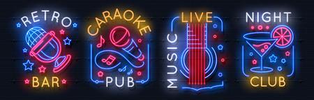 Illustration pour Neon music sign. Karaoke light logo, sound studio light emblem, night club graphic poster. Vector music bar neon label acoustic concert radio rock show entertainment - image libre de droit