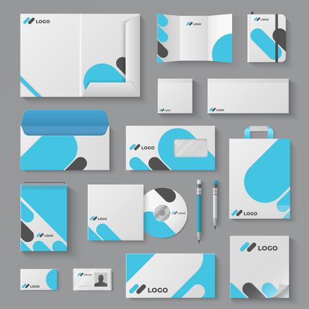 Illustration pour Corporate brand identity. Business stationery mockup branding envelope card mug document presentation. Corporation 3D vector logo template set - image libre de droit