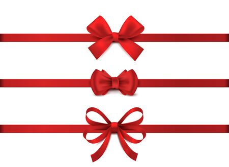 Illustration pour Red realistic bow. Horizontal red ribbon collection. Holiday gift decoration, valentine present tape knot, shiny sale ribbons set. Vector illustration christmas tie for gifts on white background - image libre de droit
