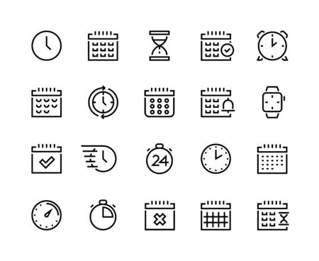 Foto für Time and calendar line icons. Business planning and schedule optimization pictograms with clock, alarm, stopwatch and chronometer. Vector set simple icon symbols timekeeper, sign time relativity - Lizenzfreies Bild