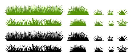 Illustration for Green and black grass silhouette. Cartoon weed field. Lawn flat illustration. Vector eco and organic logo element set - Royalty Free Image