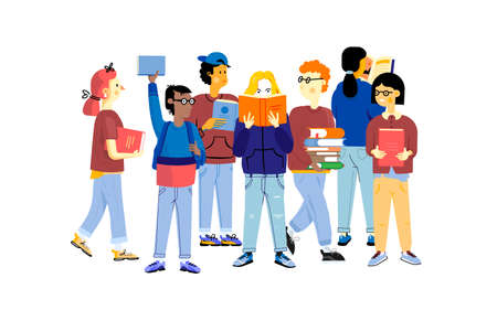 Illustration pour Student characters. Young happy boys and girls studying and carrying books, education concept. Vector cartoon trendy flat set of school children studying together - image libre de droit