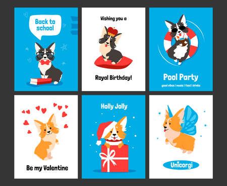 Illustration for Corgi greeting card. Posters and invitations with cute puppy, cartoon dog characters on banners. Smiling animals with comic emotions, funny celebration text and holidays wishes. Vector postcards set - Royalty Free Image