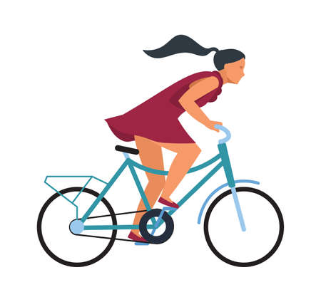 Illustration pour Girl on bike. Cartoon woman riding bicycle fast. Profile view of young female on wheel transport. Isolated hurrying cyclist. Outdoor workout or sport competition. Vector illustration - image libre de droit