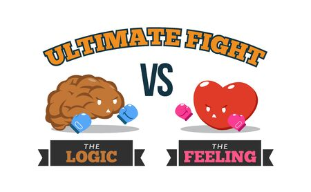 Illustration pour Brain Versus Heart. Logic Versus Feeling. Conceptual Vector Illustration - image libre de droit