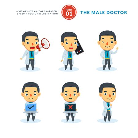 Illustration for Vector set of cartoon images of Male Doctor. First Set. Isolated Vector Illustration - Royalty Free Image