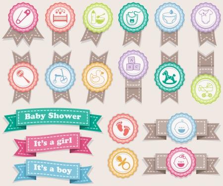 Foto de Ribbons and stamps about babies  Pastel colors - Imagen libre de derechos