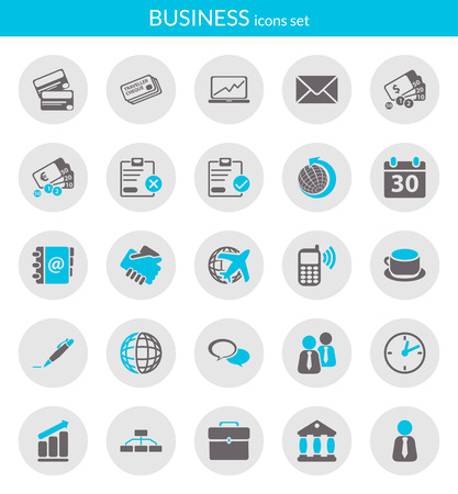 Icons set about business  Flat icons inside circles