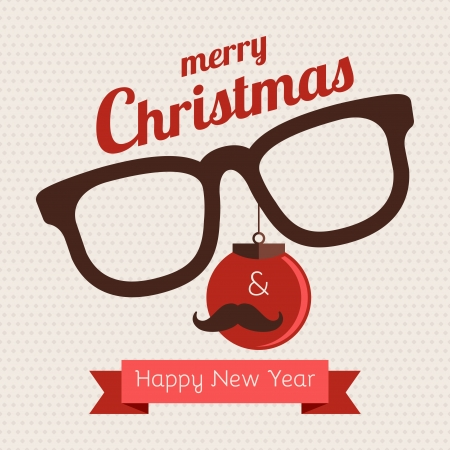 Greeting card about Christmas and New Year Hipster style