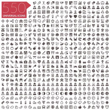 Illustration pour Flat icons. 550 universal icons - image libre de droit