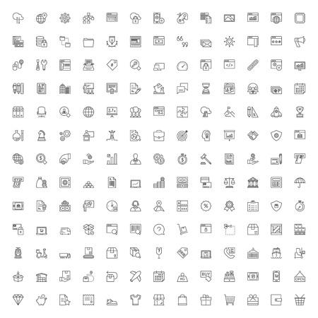 Illustration pour Thin line icons set. 169 flat symbols about business, finances, shopping, shipping, logistics and technology - image libre de droit