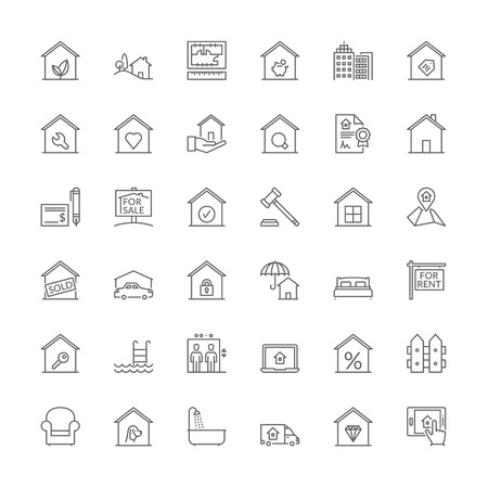 Illustration pour Thin line icons set. Flat symbols about real estate - image libre de droit