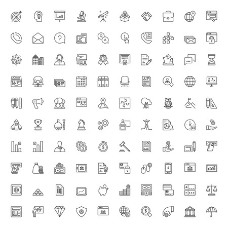 Ilustración de Icons set. 100 thin line symbols about business and finances - Imagen libre de derechos