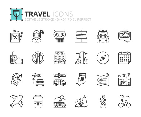 Illustration for Outline icons about travel. Editable stroke. 64x64 pixel perfect. - Royalty Free Image