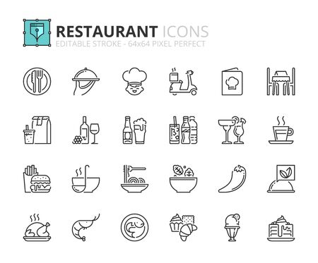 Ilustración de Outline icons about restaurant. Food and drink. Editable stroke. 64x64 pixel perfect. - Imagen libre de derechos