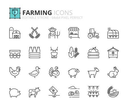 Illustration pour Outline icons about farming. Editable stroke 64x64 pixel perfect. - image libre de droit