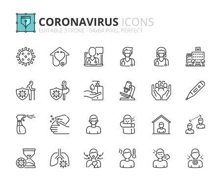Illustration pour Outline icons about Coronavirus prevention and symptoms. Health care. Editable stroke 64x64 pixel perfect. - image libre de droit