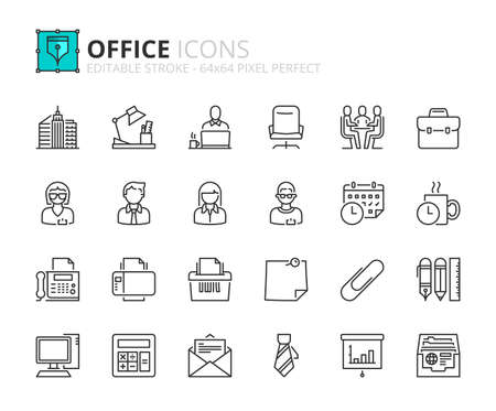 Illustration pour Outline icons about office. Business concept. Contains such icons as businessman, businesswoman, workplace, office supplies and devices. Editable stroke Vector 64x64 pixel perfect - image libre de droit