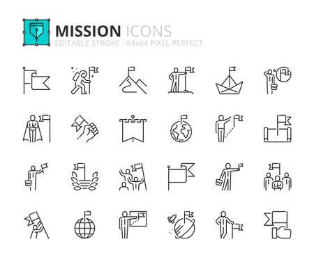 Illustration pour Outline icons about mission. Business concepts. Contains such icons as businessman with flag, achievement and goal. Editable stroke Vector 64x64 pixel perfect - image libre de droit