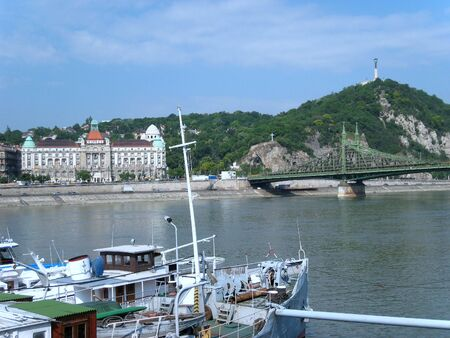 Budapest, Hungary, June 2007,  looking across Danube River to Gellert Hotel and Gellert Hill