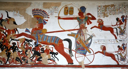 London, England - July  2009:  Ancient Egyptian wall painting at the British Museum, with hunting from a chariot