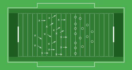 Illustration pour Vector flat rugby field. - image libre de droit
