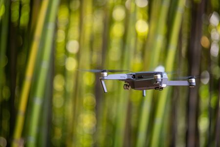 Photo pour Drone in Bamboo plantation, Green bamboo fence texture background, bamboo texture - image libre de droit