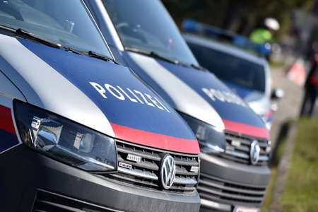 Corona crisis - police controls - The exit restrictions are controlled by the police in Austria (Gmunden district, Upper Austria, Austria) -
