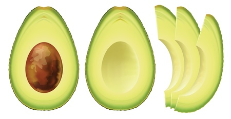 Avocado. Half of the fruit and cut into slices. Vector illustration.