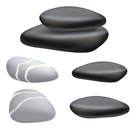 Dark and gray pebbles on a white background. Vector illustration.