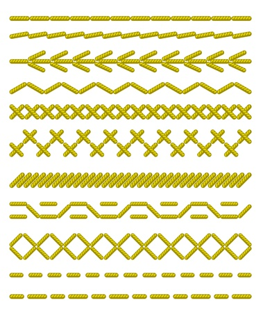 Sewing stitches. Seamless borders. Vector illustration.